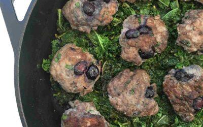 Blueberry Sausage and Lemon Garlic Kale